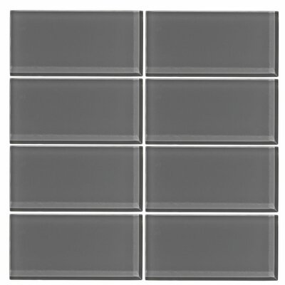 3 x 6 Glass Subway Tile in Taupe Gray