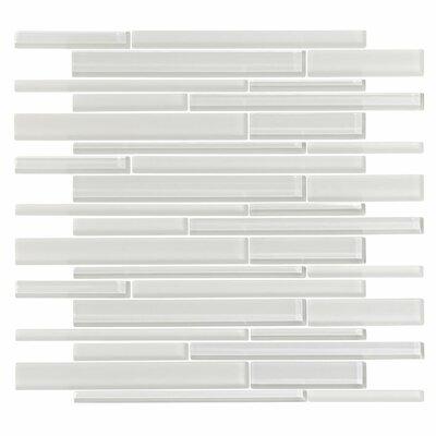 3 x 6 Glass Random Linear Mosaic Tile in Ice White