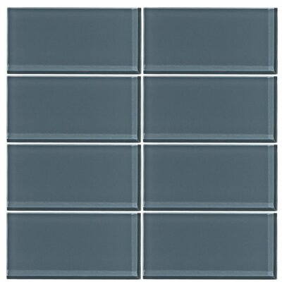 3 x 6 Glass Subway Tile in Steel Blue