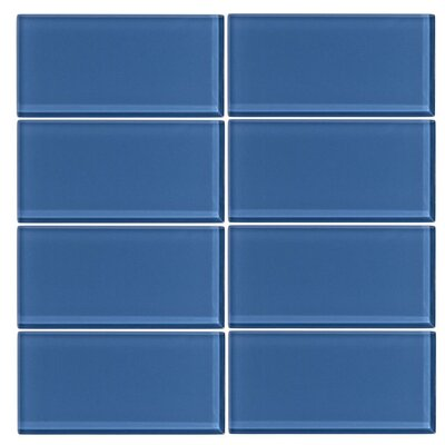 3 x 6 Glass Subway Tile in Denim
