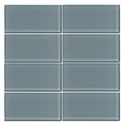 3 x 6 Glass Subway Tile in Cadet Gray