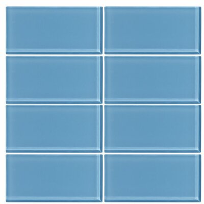3 x 6 Glass Subway Tile in Sky Blue