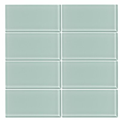 3 x 6 Glass Subway Tile in Seafoam