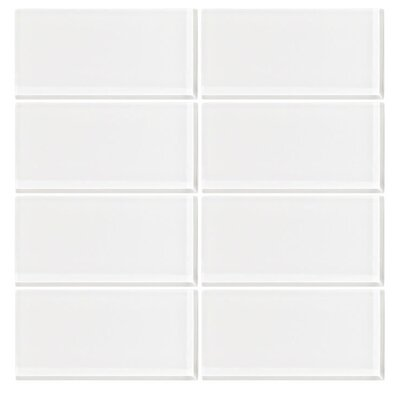 3 x 6 Glass Subway Tile in Ice White