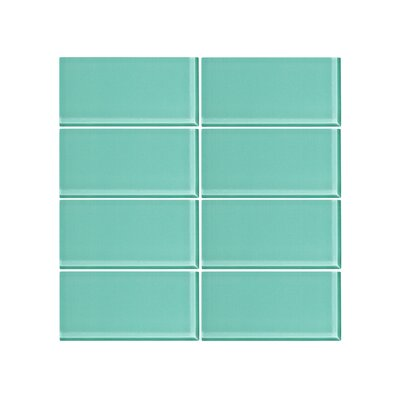 3 x 6 Glass Subway Tile in Bermuda Blue (Set of 6)