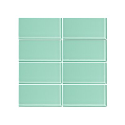 3 x 6 Glass Subway Tile in Fresh Mist (Set of 6)