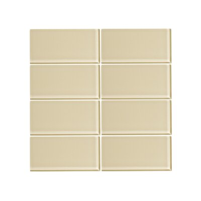 3 x 6 Glass Subway Tile in Sandstone