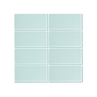 3 x 6 Glass Subway Tile in Spring Blue