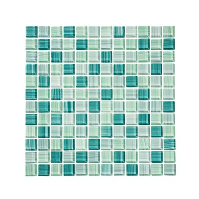 Tropical Reflections Hand Painted 1 x 1 Glass Mosaic Tile in Green