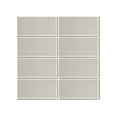 3 x 6 Glass Subway Tile in Cathedral Gray