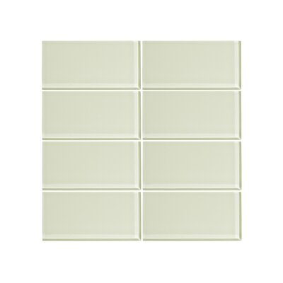 3 x 6 Glass Subway Tile in Honey Dew (Set of 6)