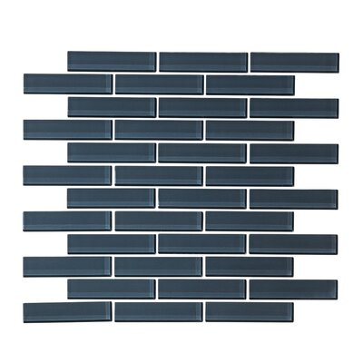 1 x 3 Glass Mosaic Tile in Steel Blue