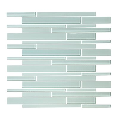 Linear Random Sized Glass Mosaic Tile in Seafoam Green