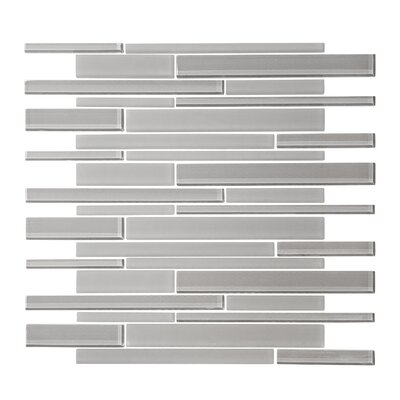 Linear Random Sized Glass Mosaic Tile in Cathedral Gray