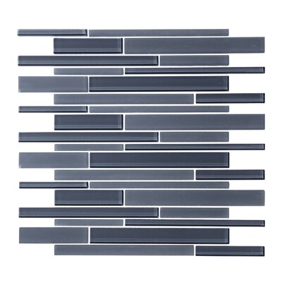 Linear Random Sized Glass Mosaic Tile in Steel Blue