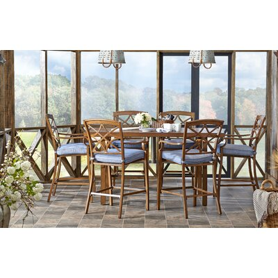 Outdoor 7 Piece Dining Set with Cushions Cushion Color: Demo Denim