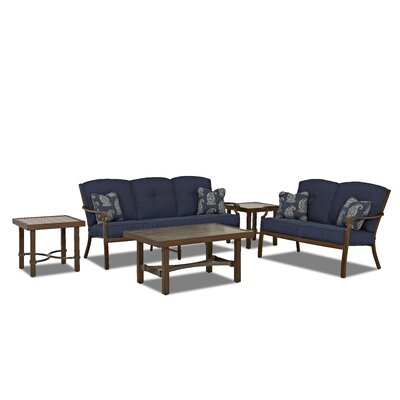 Outdoor 5 Piece Deep Sofa Seating Group with Cushion