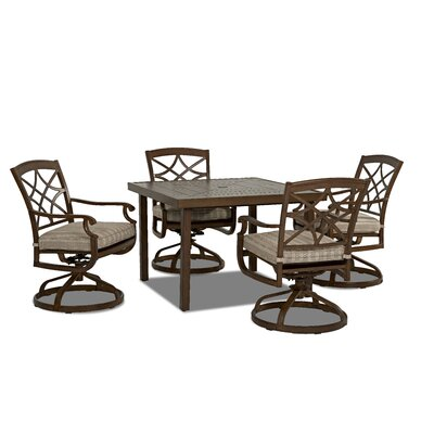 Outdoor 5 Piece Dining Set with Cushions Cushion Color: Espadrille Driftwood
