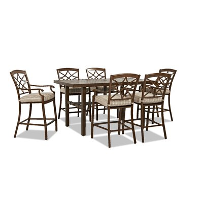 Outdoor 7 Piece Dining Set with Cushions Cushion Color: Espadrille Driftwood
