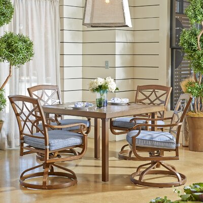 Outdoor 5 Piece Dining Set with Cushions Cushion Color: Demo Denim