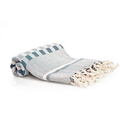 Hand-Woven Peshtemal Towel , Square weave Fouta Color: Ocean Blue