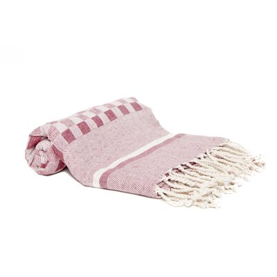 Hand-Woven Peshtemal Towel , Square weave Fouta Color: Burgundy