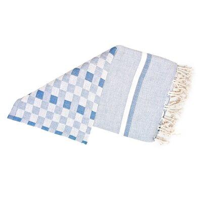 Hand-Woven Peshtemal Towel , Square weave Fouta Color: Blue