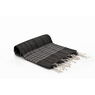 Turkish Fouta Yoga Peshtemal Bath Towel Color: Black