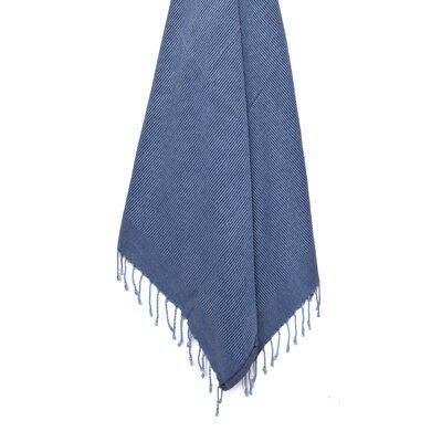 Stone Washed VIntage Peshtemal Turkish Beach Towel Color: Blue