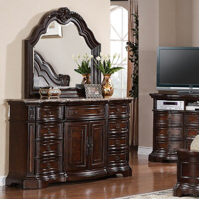 Edington 9 Drawer Combo Dresser with Mirror