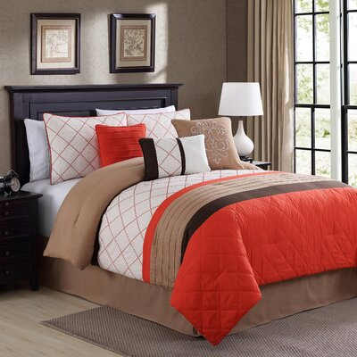 Orelia Embroidered Comforter Set Size: Queen