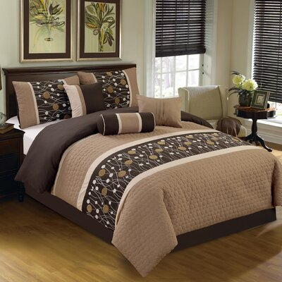 Chinensis Embroidered 7 Piece Comforter Set Size: Queen