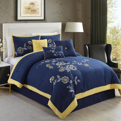 Violet Embroidered 7 Piece Comforter Set Size: King
