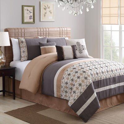 Splendor Embroidered 7 Piece Comforter Set Size: King