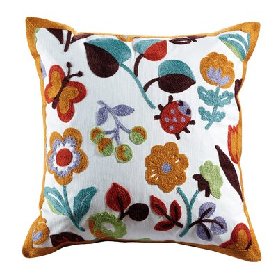 Olivia Embroidered Cotton Throw Pillow