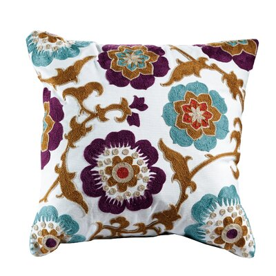 Magnolia Embroidered Cotton Throw Pillow