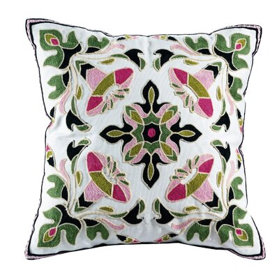 Ava Embroidered Cotton Throw Pillow