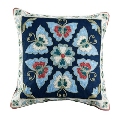 Auburn Embroidered Cotton Throw Pillow