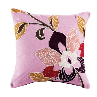 Blossom Embroidered Cotton Throw Pillow