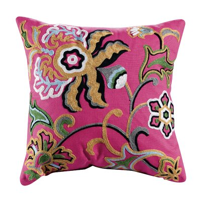 Dahlia Embroidered Cotton Throw Pillow