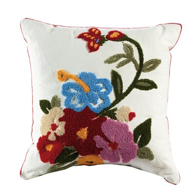 Marigold Embroidered Cotton Throw Pillow