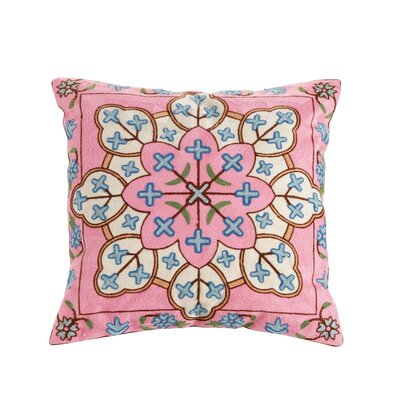Layla Embroidered Cotton Throw Pillow
