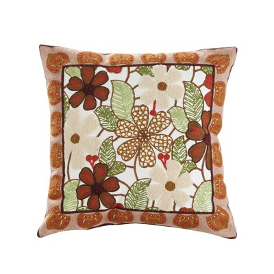 Aster Embroidered Cotton Throw Pillow