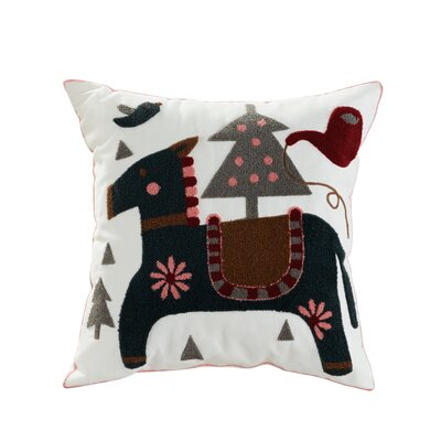 Colt Embroidered Cotton Throw Pillow