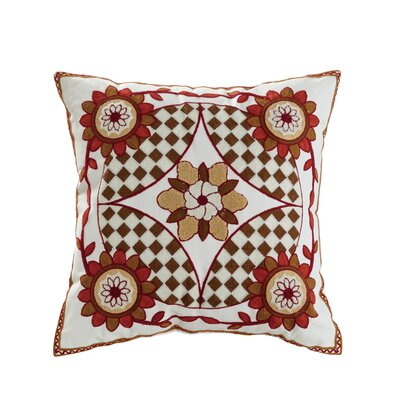 Saffron Embroidered Cotton Throw Pillow