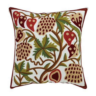 Strawberry Embroidered Cotton Throw Pillow