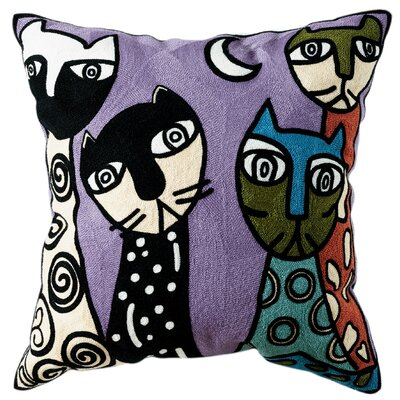 Caitlin Embroidered Cotton Throw Pillow