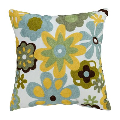 Caltha Embroidered Cotton Throw Pillow