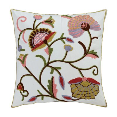 Aya Embroidered Cotton Throw Pillow