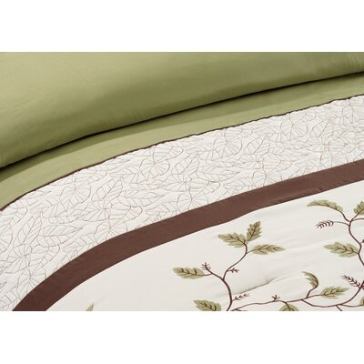 Woodchase Embroidered 7 Piece Comforter Set Size: Queen